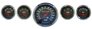 Instrument Gauges - (5 Gauge Set), Mechanical Speedo, Black Face Photo Main