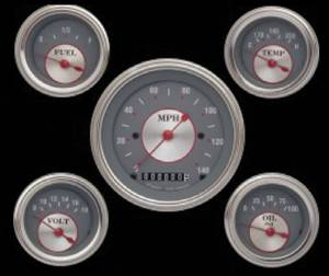 Instrument Gauges - (5 Gauge Set) - Silver Series With Flat Lens 12v Photo Main