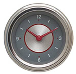 "Instrument Gauges - Clock With Reset Button - Silver Series - Curved Lens (2-1/8"" Dia.) 12v Photo Main"