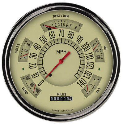 Instrument Gauges- Classic Line Tan With Red Pointer Direct Fit 12v Photo Main