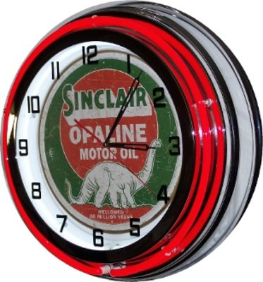 Clock Red Neon Antique Sinclair  Photo Main