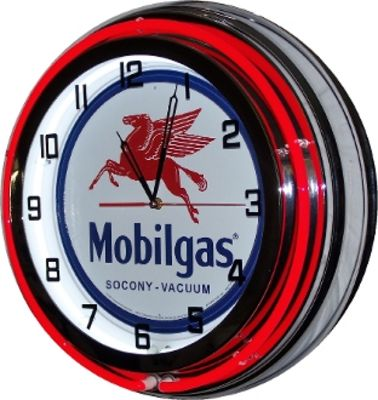 Clock Red Neon Mobil Gas Photo Main