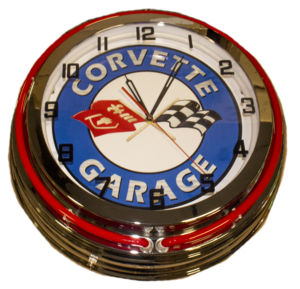 Clock Red Corvette Garage Photo Main