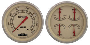 "Instrument Gauges - 4-5/8"" Vintage Series Red Pointer with Stainless Bezel 12v Photo Main"