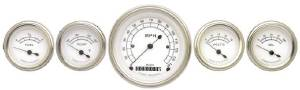 Instrument Gauges - (5 Gauge Set) - Classic White Series With Curved Lens 12v Photo Main