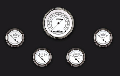 Instrument Gauges - (5 Gauge Set) - Classic White Series With Flat Lens 12v Photo Main