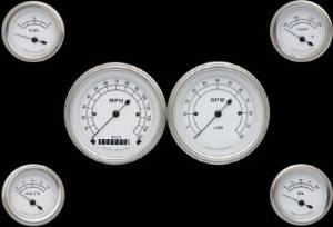 Instrument Gauges - (6 Gauge Set) - Classic White Series 12v Photo Main
