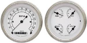 Instrument Gauges - (2 Gauge Set) - Classic White Series With Curved Lens 12v Photo Main