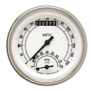 "Instrument Gauges - Ultimate Speedometer (3-3/8"") Speedo Tach Combo - Classic White Series With Flat Lens 12v Photo Main"