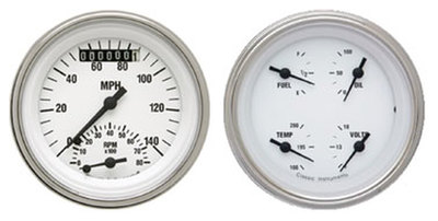 "Instrument Gauges - Ultimate Speedometer (3-3/8"") Speedo Tach Combo With 4 Gauges - Classic White Series With Flat Lens 12v Photo Main"
