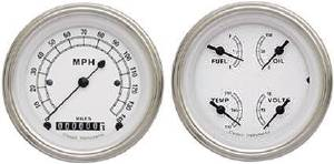 "Instrument Gauges - 5"" Speedo & Quad-Cluster - Classic White Series With Curved Lens 12v Photo Main"