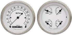 "Instrument Gauges - 5"" Speedo & Quad-Cluster - Classic White Series With Flat Lens 12v Photo Main"