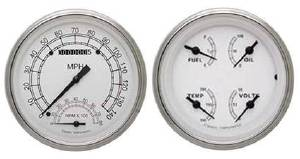Instrument Gauges - Speedtachular Speedo Tach Combo With Quad Gauge - Classic White Series With Curved Lens 12v Photo Main