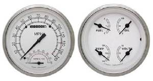 Instrument Gauges - Speedtachular Speedo Tach Combo With Quad Gauge - Classic White Series With Flat Lens 12v Photo Main