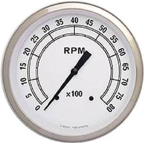 Instrument Gauges - Tach 8000rpm - Classic White Series - Flat Lens 12v Photo Main
