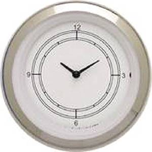 "Instrument Gauges - Clock With Reset Button - Classic White Series - Curved Lens (3-3/8"" Dia.) 12v Photo Main"