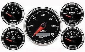 "Instrument Gauges - Auto Meter Designer Black Ii Series, 3-3/8"" 5 Gauge Kit (Electric Speedo) Photo Main"