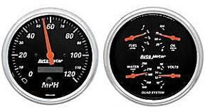 "Instrument Gauges - Auto Meter Designer Black Series, 5"" Quad Gauge And Speedo (Electric) Photo Main"