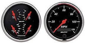 "Instrument Gauges - Auto Meter Designer Black Series, 3-3/8"" Quad Gauge And Speedo (Electric) Photo Main"