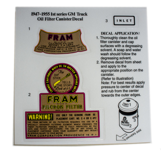 Decal Set - Fram Oil Filter, 1940s Photo Main