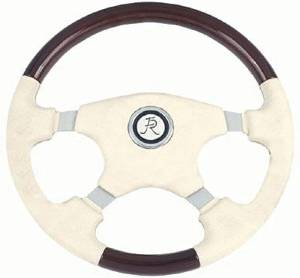 "Steering Wheel. Bone Leather & Fruitwood, 15"" Dia. 5-Bolt Mount (Flaming River) Mount Photo Main"