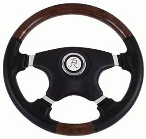 "Steering Wheel -Black Leather & Fruitwood, 15"" Dia. 5-Bolt Mount (Flaming River) Photo Main"