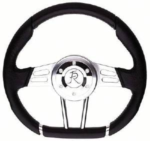 "Steering Wheel, Flaming River -""D"" Wheel Black 13.4"" Dia., 6-Bolt Photo Main"