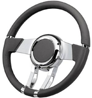 "Steering Wheel, Flaming River -Waterfall Light Grey Leather, 13.8"" Diam. With 6 Bolt Mounting Flange Photo Main"