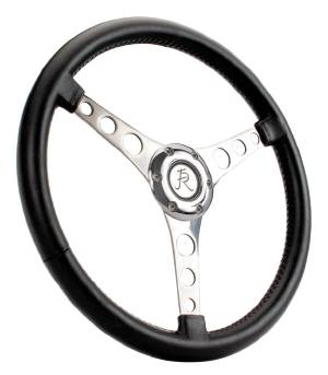 "Steering Wheel. Flaming River -Corvette, 15"" Diam. With 6 Bolt Mounting Flange Leather Wrap -Black Photo Main"