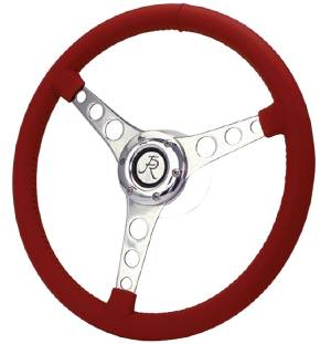 "Steering Wheel. Flaming River -Corvette, 15"" Diam. With 6 Bolt Mounting Flange Leather Wrap -Red Photo Main"