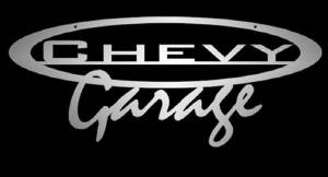 """Chevy Garage"" Wall Sign - Laser Cut Steel With Clear Powdercoat. 32"" X 13"" Photo Main"
