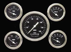 Instrument Gauges - (5 Gauge Set) - Hot Rod Series With Flat Lens (Black Face) 12v Photo Main