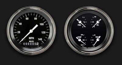 "Instrument Gauges - (2 Gauge Set) - Hot Rod Series With Curved Lens (Black Face), 3-3/8"" 12v Photo Main"