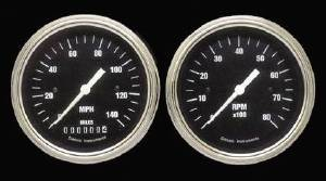 Instrument Gauges - (2 Gauge Set) - Hot Rod Series With Flat Lens (Black Face) 12v Photo Main