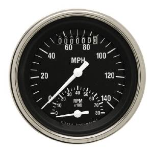 "Instrument Gauges - Ultimate Speedometer (3-3/8"") Speedo Tach Combo - Hot Rod Series With Flat Lens (Black Face) 12v Photo Main"