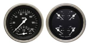 "Instrument Gauges - Ultimate Speedometer (3-3/8"") Speedo Tach Combo With Quad Gauge - Hot Rod Series With Flat Lens (Black Face) 12v Photo Main"