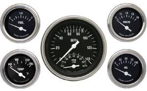 "Instrument Gauges - Ultimate Speedometer (3-3/8"") Speedo Tach Combo With 4 Gauges - Hot Rod Series With Flat Lens 12v Photo Main"