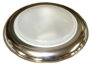 "Dome Light, Universal With Polished Smooth Bezel. 4-3/4"" Dia., White Glass Lens Photo Main"