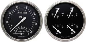 Instrument Gauges - Speedtachular Combo With Quad Gauge - Hot Rod Series With Flat Lens (Black Face) 12v Photo Main