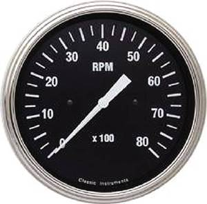 Instrument Gauges - Tach 8000rpm - Hot Rod Series - Curved Lens (Black Face) 12v Photo Main