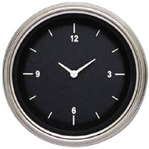 "Instrument Gauges - Clock With Reset Button - Hot Rod Series (Black Face) - Curved Lens (3-3/8"" Dia.) 12v Photo Main"