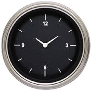 "Instrument Gauges - Clock With Reset Button - Hot Rod Series (Black Face) - Flat Lens (3-3/8"" Dia.) 12v Photo Main"