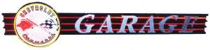 "Clock Sign, Large Neon  -Corvette Garage. 10' Length X 26"" Height. Red, Black & White Photo Main"