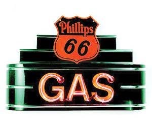"Sign, Neon Marquee -Phillips 66 Gas. 34"" Length X 24"" Height & 8"" Deep. Black & Red Photo Main"