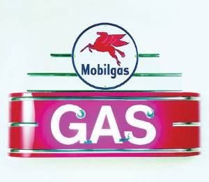 "Sign, Neon Marquee -Mobil Gas. 34"" Length X 24"" Height & 8"" Deep. Black & Red Photo Main"