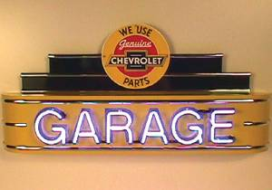 "Sign, Large Neon Marquee -Chevrolet Parts Garage. 48"" Length X 24"" Height & 8"" Deep. Yellow & Black Photo Main"