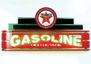 "Sign, Large Neon Marquee -Texaco High Octane Gasoline. 48"" Length X 24"" Height & 8"" Deep. Black & Red Photo Main"