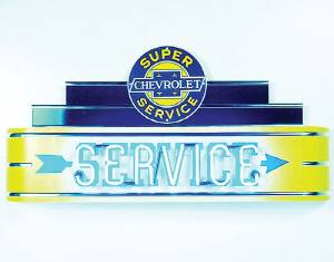 "Sign, Large Neon Marquee -Chevrolet Service. 48"" Length X 24"" Height & 8"" Deep. Yellow & Blue Photo Main"