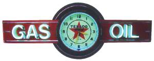 "Clock Sign, Large Neon -Texaco Gas & Oil. 6' Length, 26"" Height, 20"" Clock. Red & Yellow Photo Main"