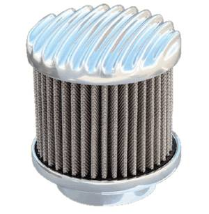 "Air Cleaner, Finned Aluminum, Tall (3.25"" Tall). Choose Carb Neck Size & Finish (Polished Or Unpolished) Photo Main"
